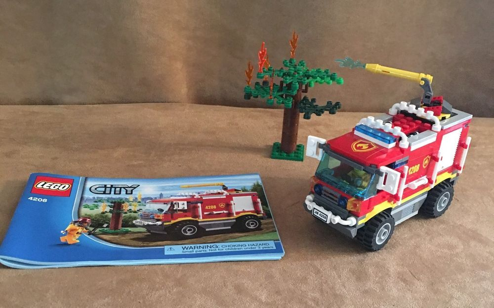 4208 Lego Complete City Fire Trucks Instructions Fireman Buring Tree