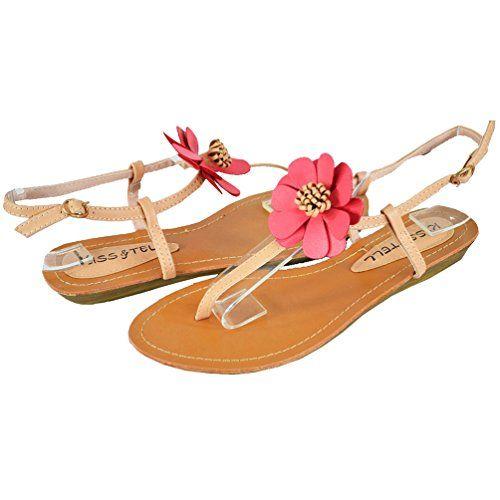 Kiss  Tell Womens Shari 23 Flat Sandals Peach 10 M US -- See this great product.