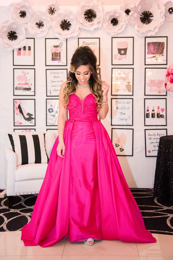 chanel bridal shower decor ideas wedding decor idea pink jovani gown bridal shower dress attire bride to be wedding detachable skirt