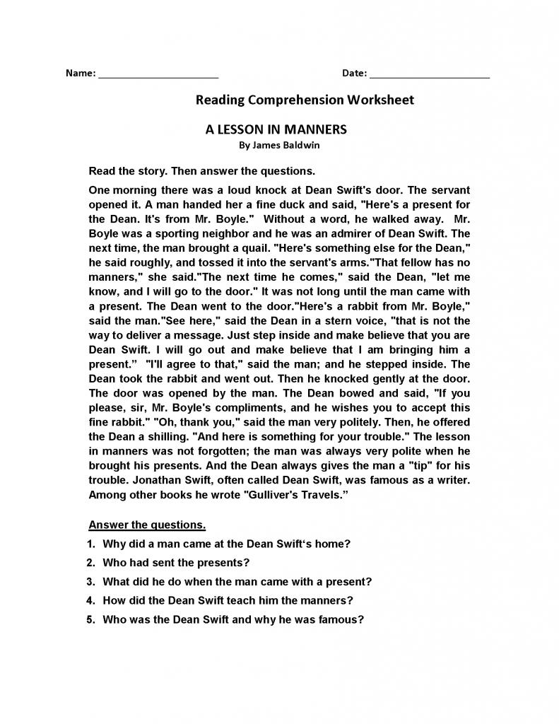 - 4th Grade Reading Comprehension Worksheets Comprehension