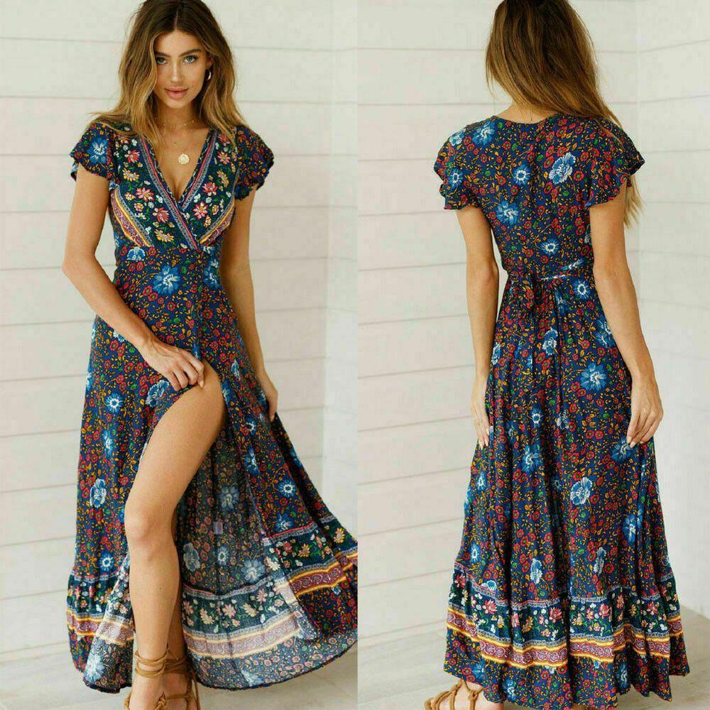 UK Women Boho Floral V Neck Party Evening Summer Beach Holiday Long Maxi Dress