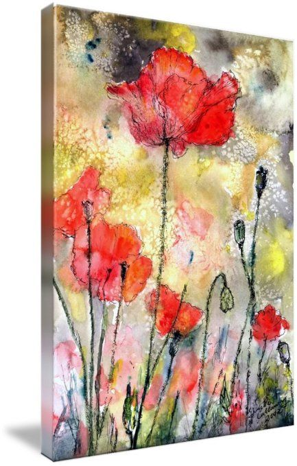 Amazon Com Tall Poppy Watercolor Ink By Ginette Giclee Art