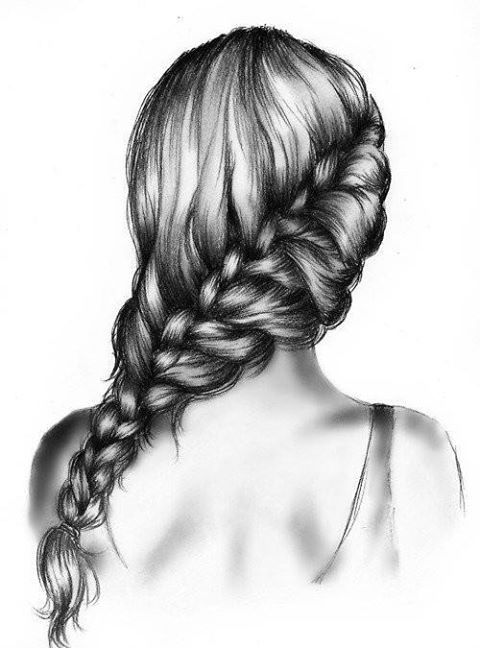 Pencil Draw Girl With Long Hair Braid By Kristina Webb