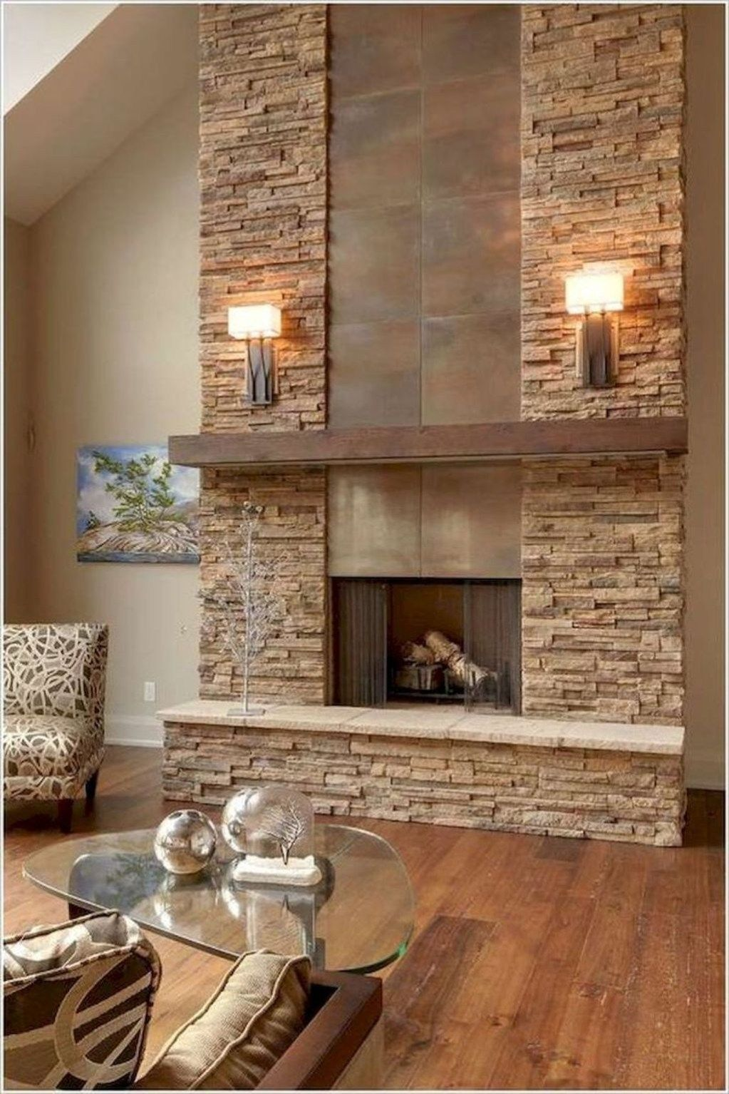 Glamour Farmhouse Home Decor Ideas On A Budget 45 Fireplace Design Stone Wall Living Room Stacked Stone Fireplaces