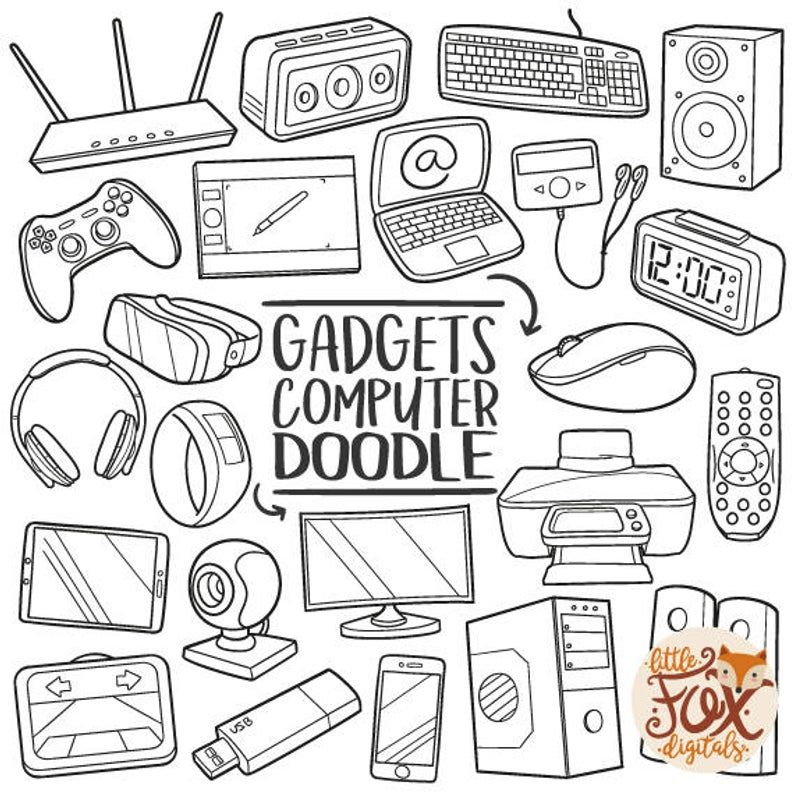 Gadgets Doodle Vector Icons Computer Technology Tools Traditional Doodle Icons Clipart Set Hand Drawn Line Art Design Artwork Clip Art In 2021 Line Art Design Computer Drawing Doodles