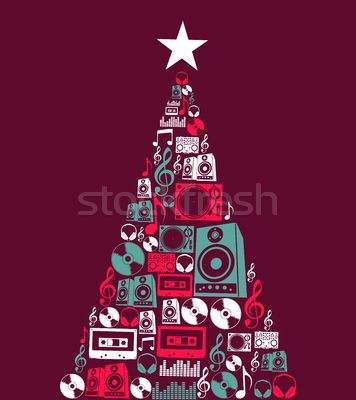 Rock Christmas Music.Stock Photo Christmas Music Objects Tree Design