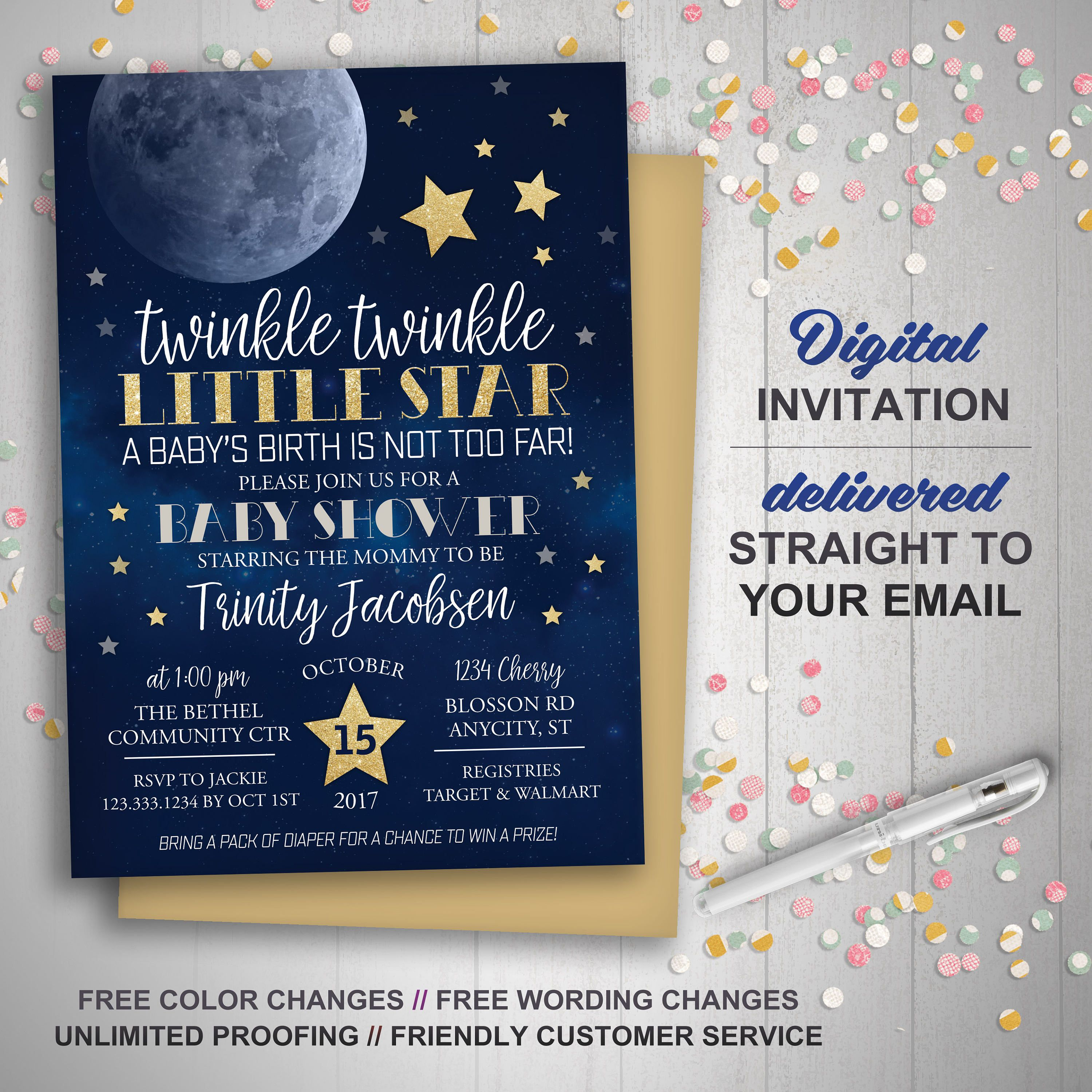 Moon Stars Baby Shower Invitation Twinkle Twinkle Little Star First Birthday Printable Invitation Over The Moon Little Moon Galaxy Star Baby Shower Invitations Star Baby Showers Moon Stars Baby Shower