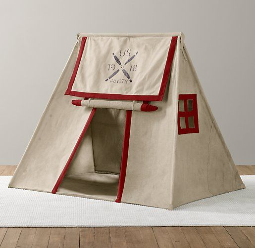 Recycled Canvas Pitch Tent, Stenciled With A US Air Force Inspired Logo # Kids