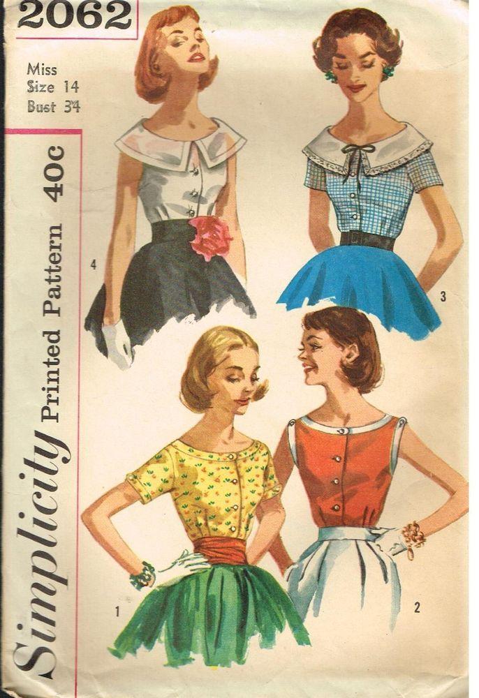 Vintage Pattern Scoop Blouse Blouses Simplicity 2062 14 34 1950 S