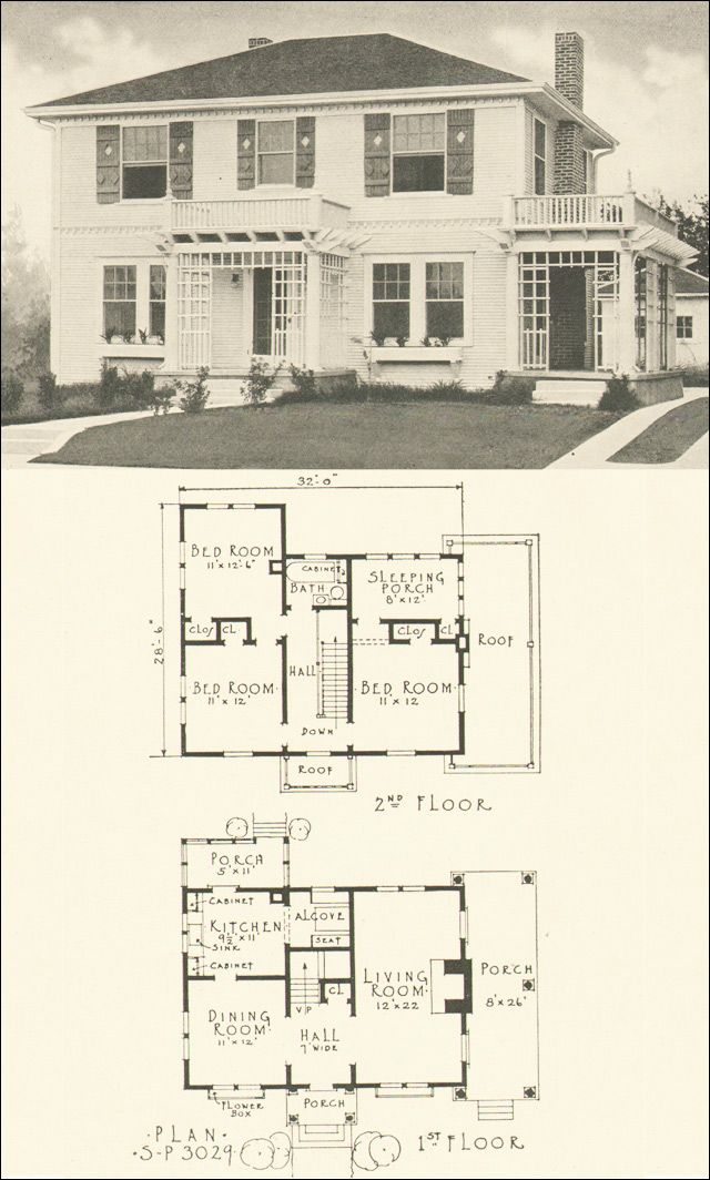 Plan No 3029 Southern Pine Association Two Story Colonial Revival Colonial House Plans Craftsman House Plans French Country House Plans
