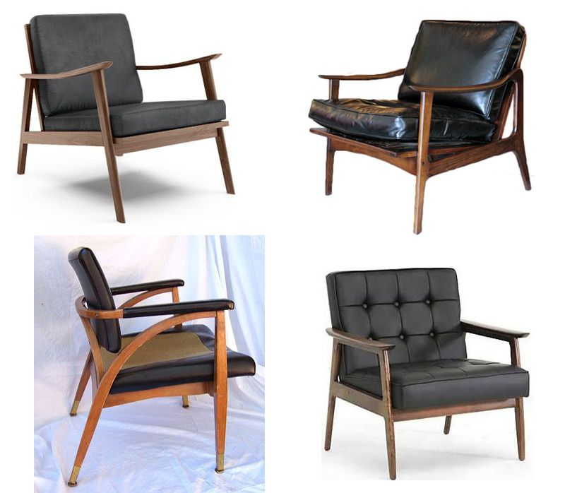 Mid century modern black leather chairs more or less Mid century chairs