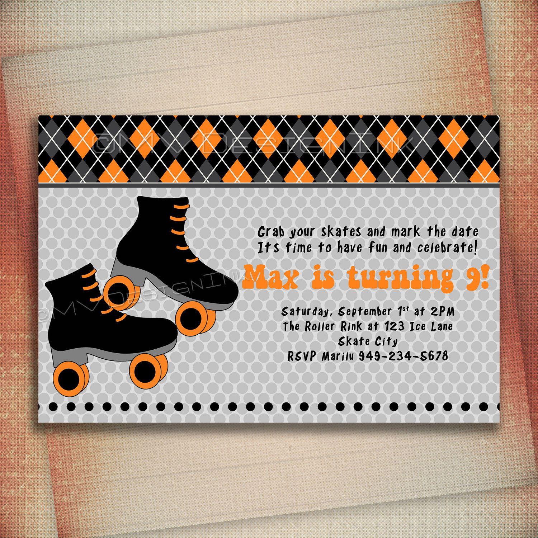 birthday party invitations printable%0A Boy Roller Skate Birthday Invitation Roller Skate by MVDesignInk