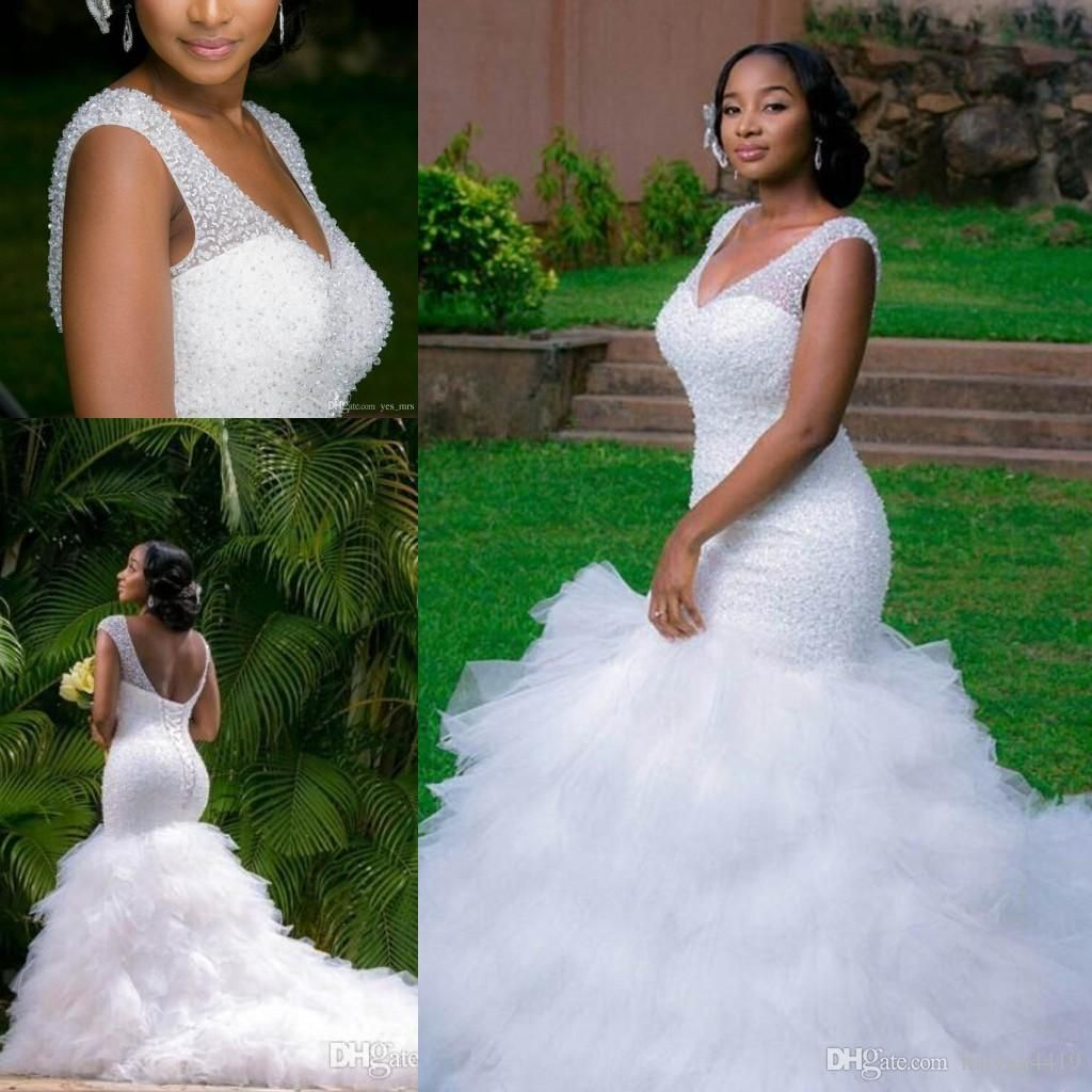 African new mermaid wedding dresses plus size v neck cap sleeves