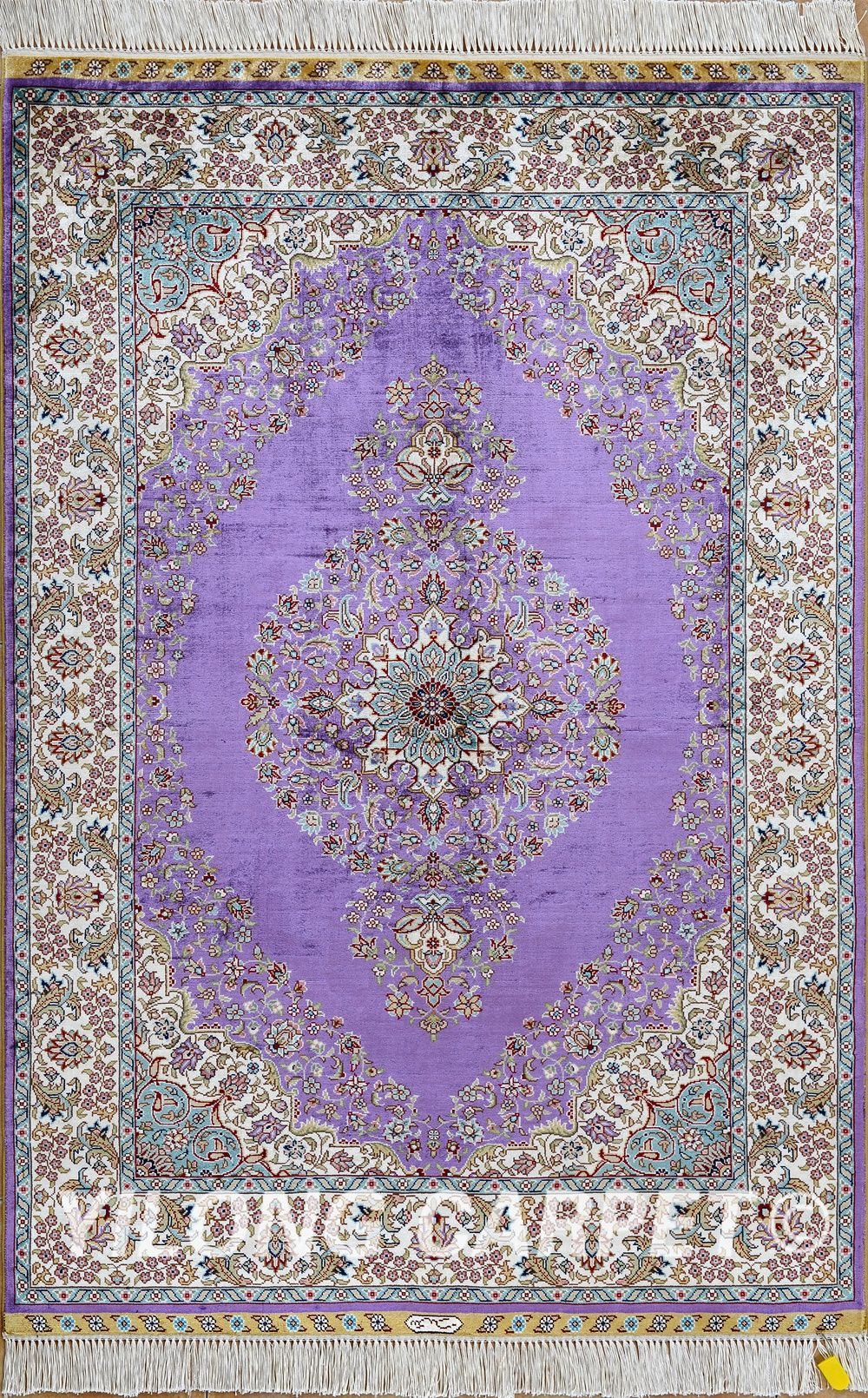 Purple Persian Rug Oriental Turkish Carpet Silk Tabriz Rugs Hereke Area Materials