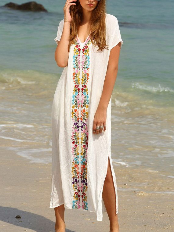 Vestido Maxi Boho De Verano Para Playa Blanco Bordado
