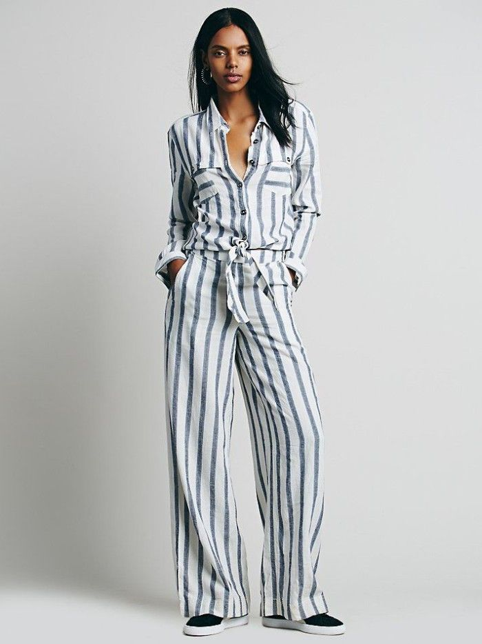 589ab5cd46f1 1 Brandy s Uptown Magazine Summer Issue Cover Party Free People White  Striped Button Down Sensual Wrapped Jumpsuit