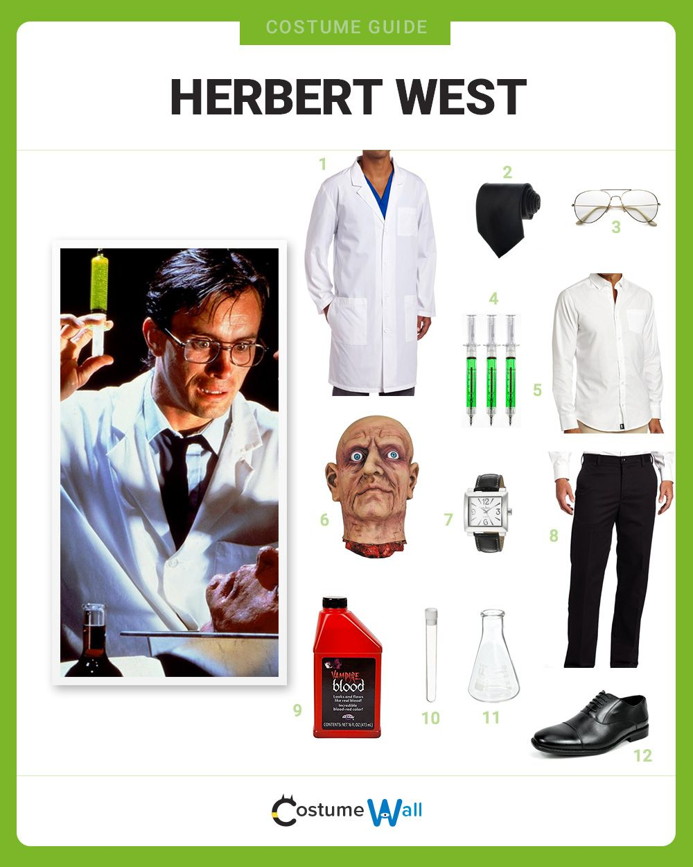 The best costume guide for dressing up like Herbert West, the scientist that brings dead people back to life in the 1985 movie Re-Animator.