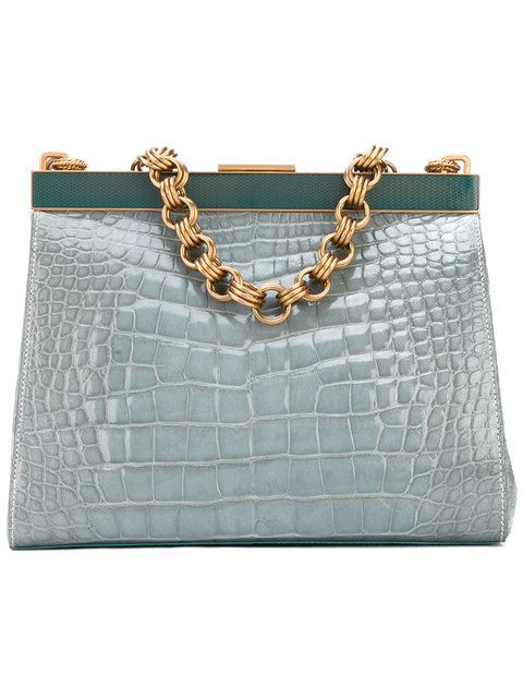 b36875c0f4d1 Prada Vintage Bag - Blue crocodile leather bag from Prada Vintage featuring  a chain strap, a top magnetic closure and an internal zipped pocket. Circa  2000.