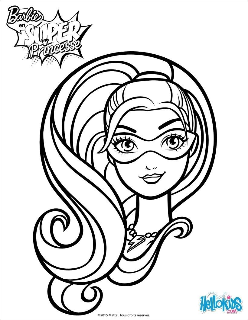 Coloriage Du Portrait De Barbie Super Princesse Avec Son