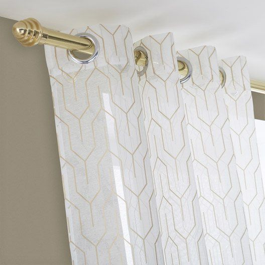 Voilage Tamisant Amber Blanc Or L 140 X H 250 Cm Deco Salon Blanc Voilage Decoration Salon Blanc