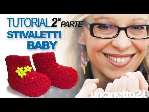 Tutorial uncinetto - Stivaletti baby (crochet baby booties) - Parte 2 di 3 - YouTube