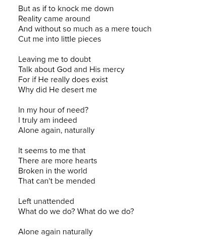 Alone Again (Naturally) - Gilbert O'Sullivan lyrics