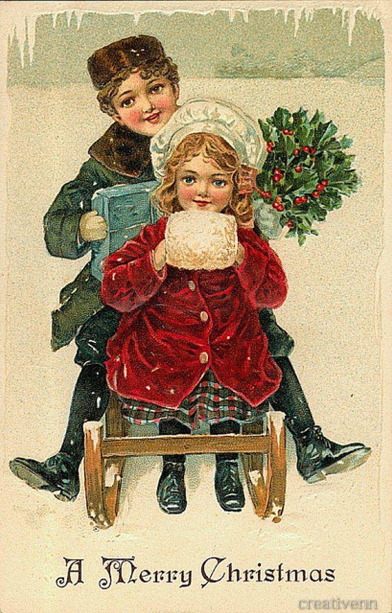 Картинки для, винтажные открытки дети рождество
