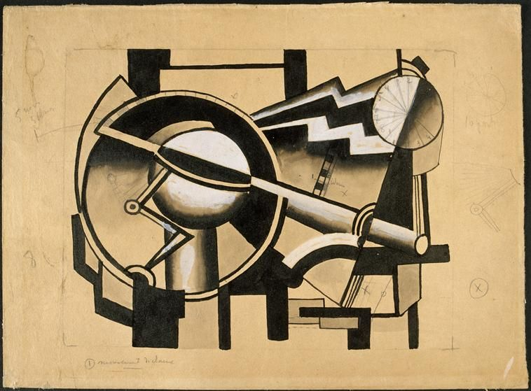 Composition Mechanical Movement cart, Fernand Leger. Abstract with a nice mechanical touch - very structural.