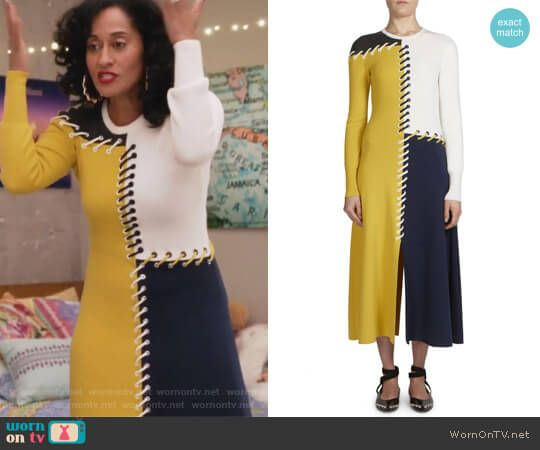 eeb2ea6a3cd8 Tracee Ellis Ross · How To Wear · Rainbow s lace-up detail colorblock dress  on Grown-ish. Outfit Details  https