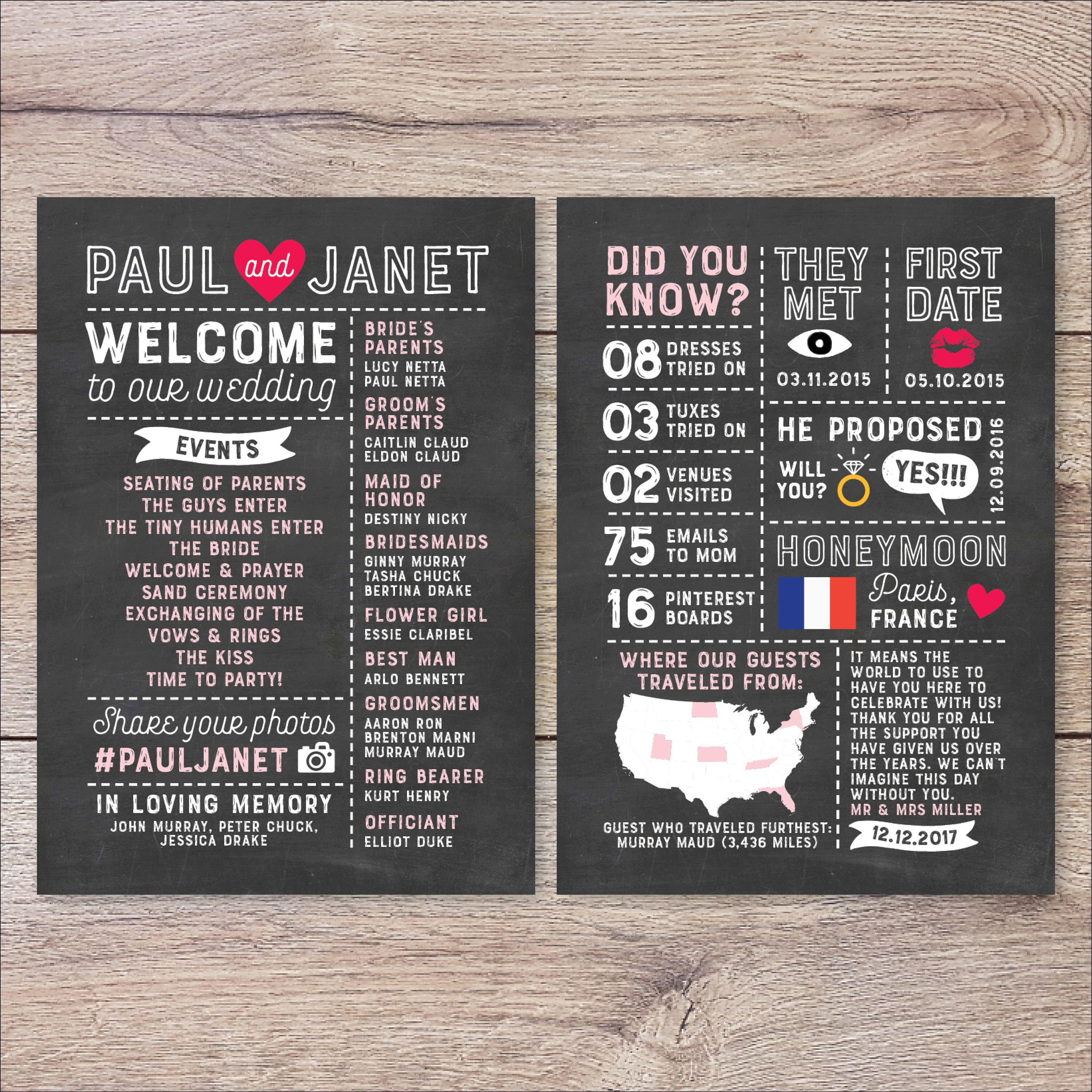 fun modern wedding invitations%0A Infographic Wedding Program  Fun Wedding Program  Printable Wedding  Program  Unique Program  Modern