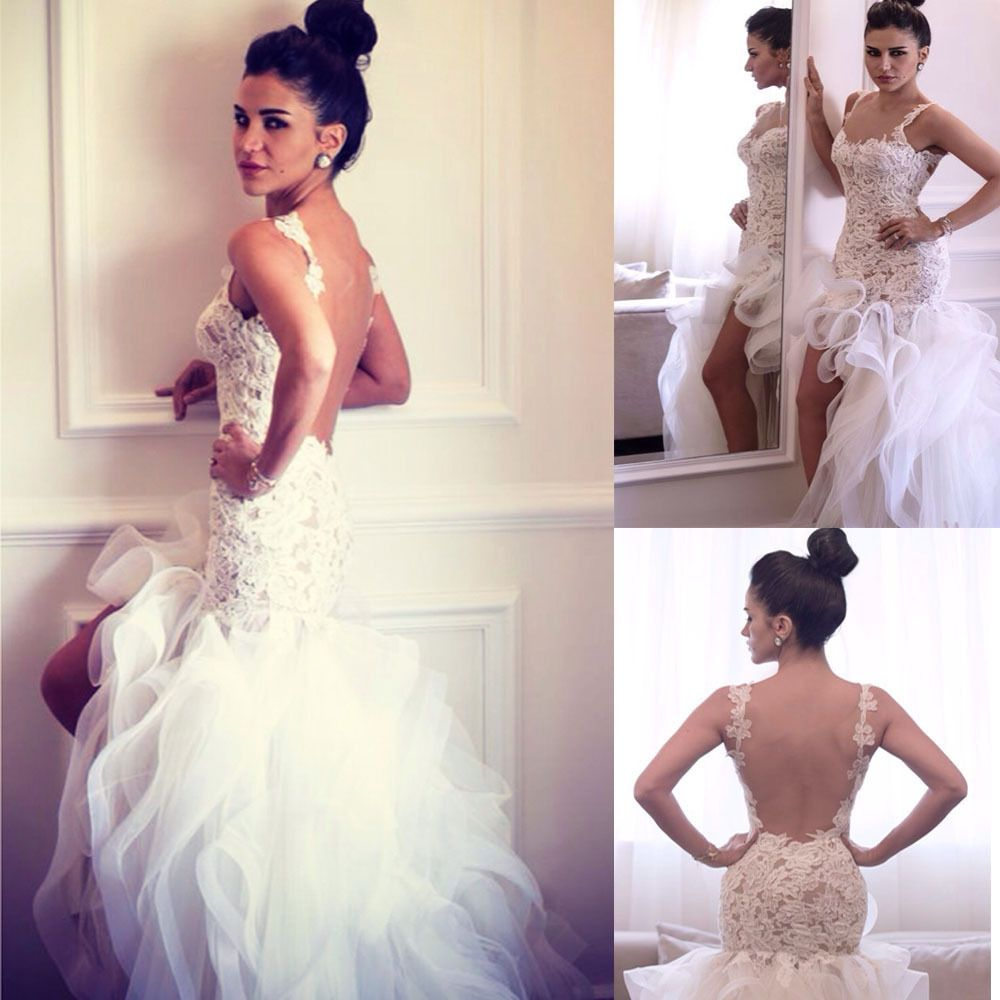 Cheap wedding dresses short front long back  Sexy Backless High Low Spaghetti Straps Organza Ruffled Bridal Gown