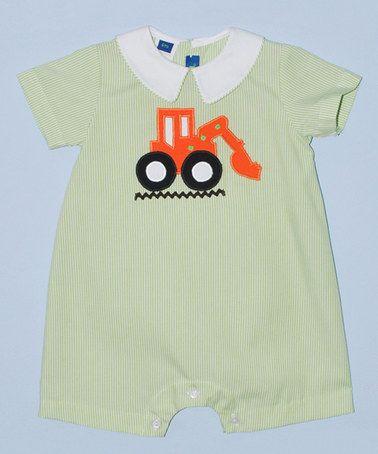Another great find on #zulily! Green & Orange Excavator Romper - Infant #zulilyfinds