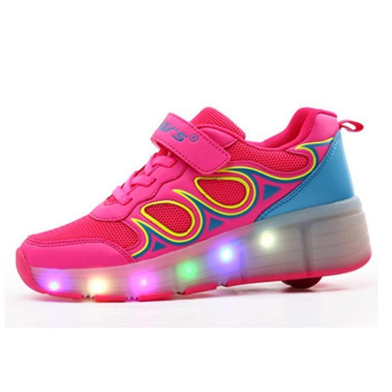 New Boys Girls Led Light Breathale Mesh Sneakers Children Shoes Roller Skate  One Wheels Shoe Flats Heels Kids Size