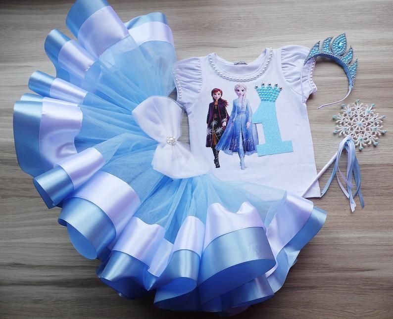 Frozen 2 Birthday Tutu Outfit, Elsa and Anna Princess