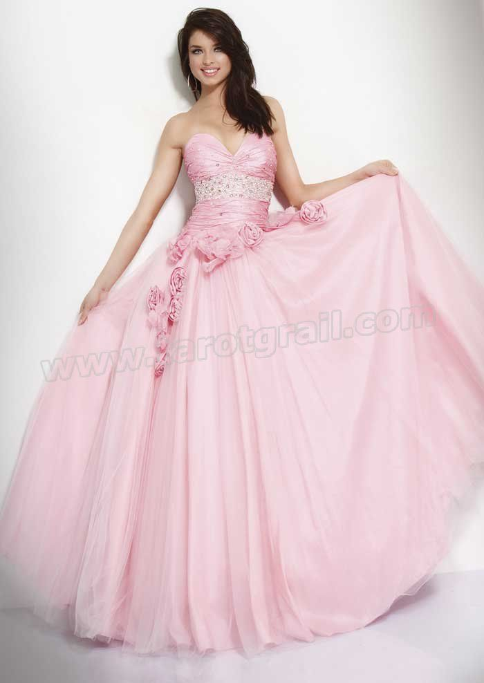 Baby Pink Strapless Sweetheart Floor Length A-Line Prom Dress With Beading and Rosettes