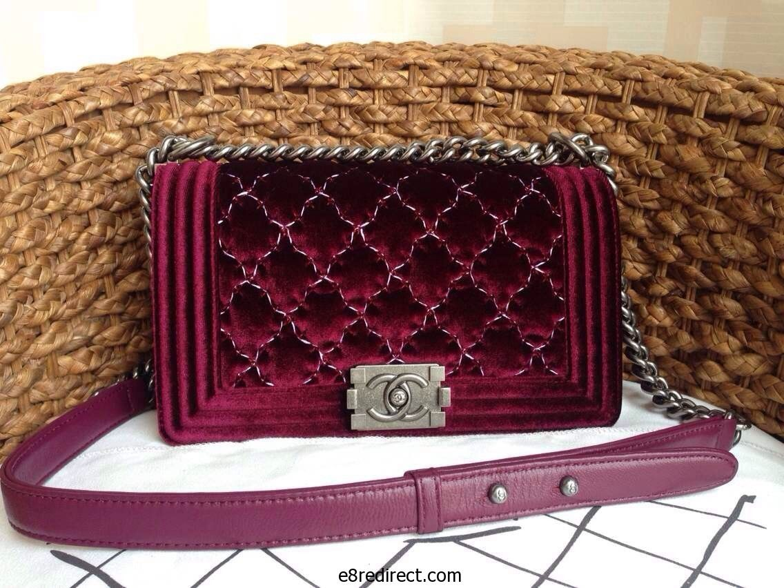c1cb9cd41ab Replica Chanel Velvet Large Stitch Boy Flap Bag Pre Fall 2014  Size 25cm 28cm Colors Black