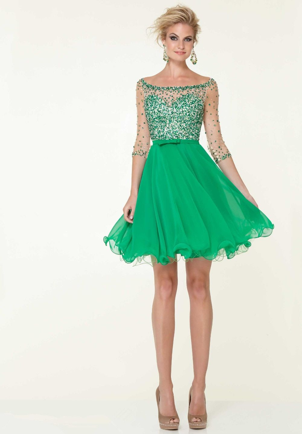 Hot sale green short dresses 8th grade prom