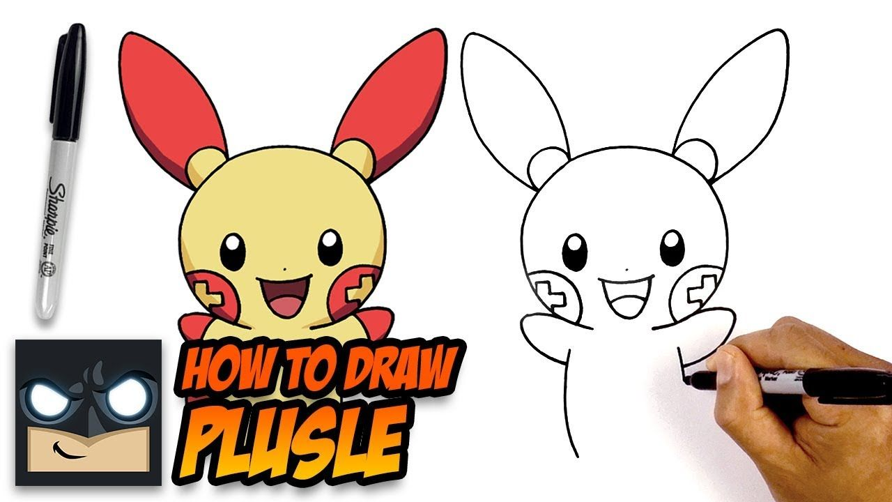 How To Draw Pokemon Plusle Step By Step For Beginners Pokemon Drawings Easy Cartoon Drawings Cartooning 4 Kids