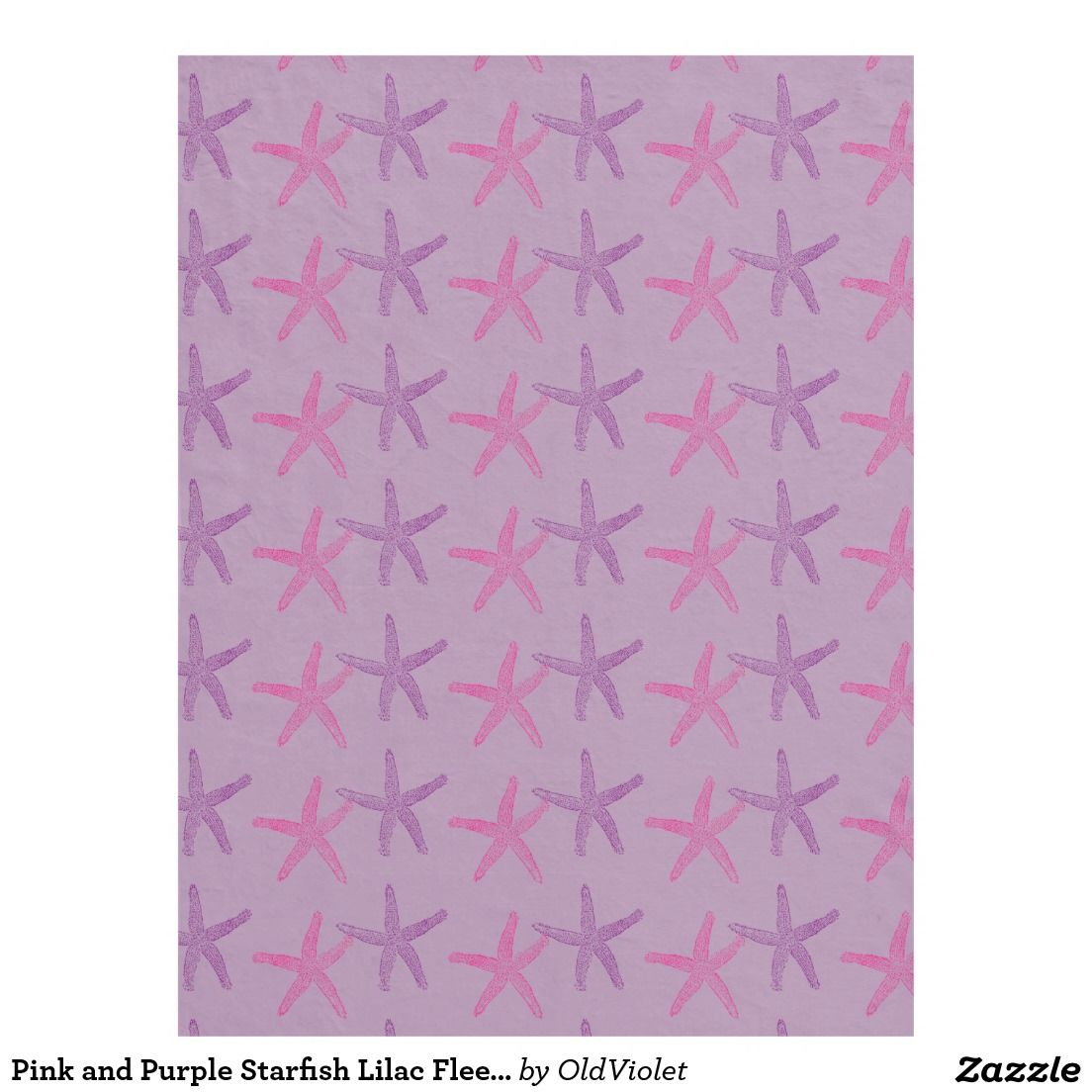 Pink and Purple Starfish Lilac Fleece Blanket - #oldviolet #windywinters #zazzle