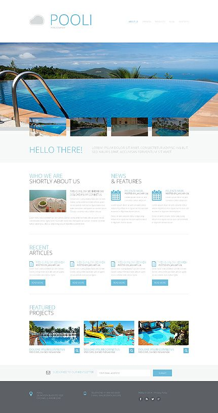 Template 48905 pool responsive website template for Pool design templates