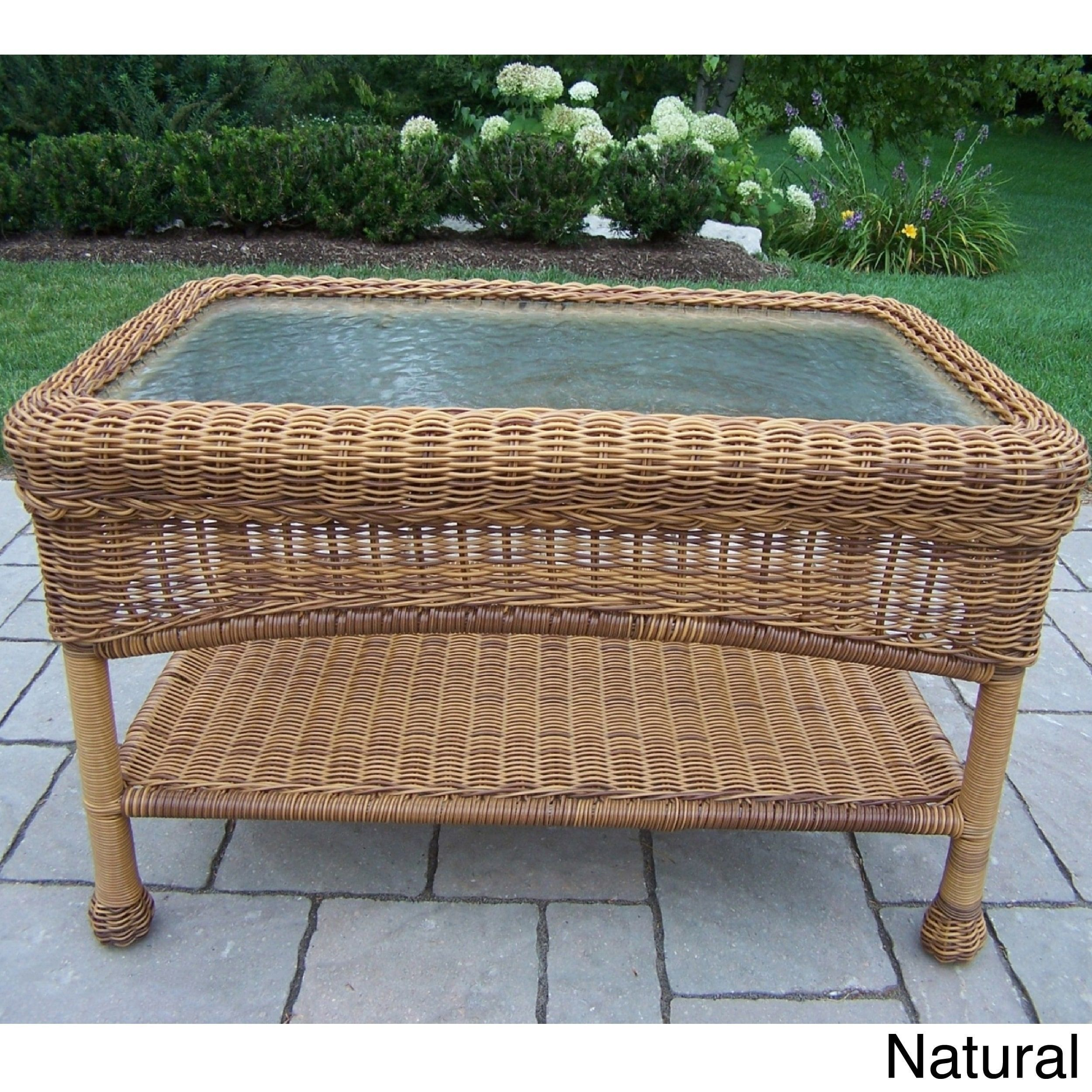 Premium 29 X 17 5 Resin Wicker Coffee Table White Oakland Living Corporation Glass Wicker Coffee Table Coffee Table Rectangle Wicker