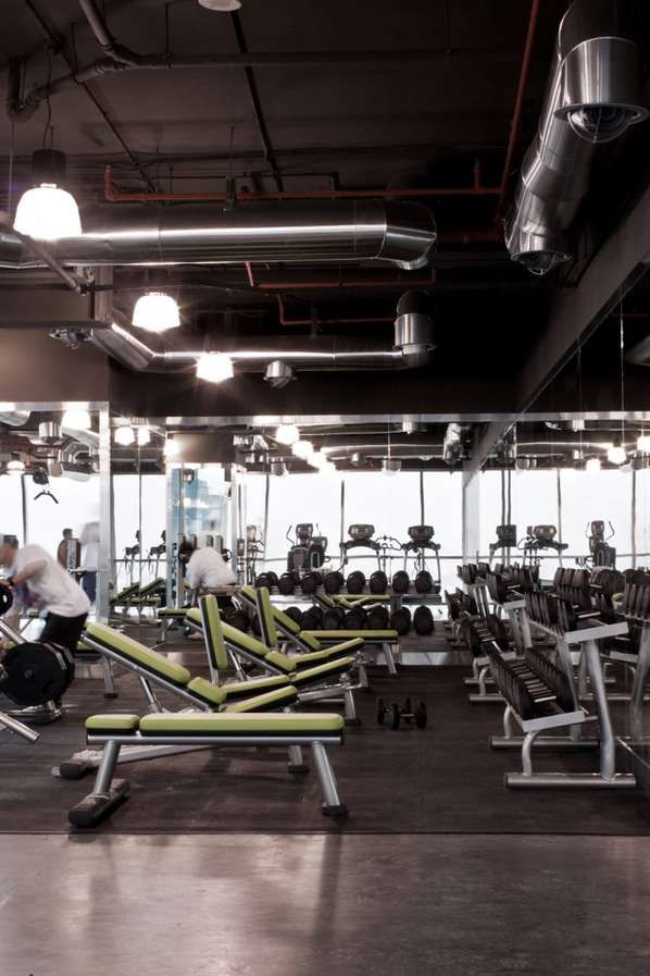 free weights love having green and grey fitness gym design gym rh pinterest com