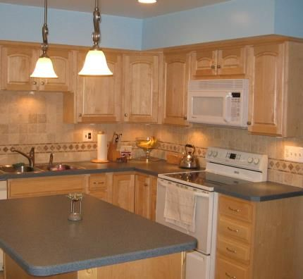 Kitchen Backsplashes with Maple Cabinets | Before | Dark ... on Backsplash Ideas For Maple Cabinets  id=44324