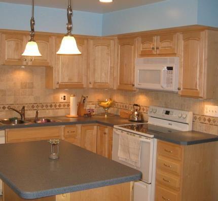 Kitchen Backsplashes with Maple Cabinets | Before | Dark ... on Maple Cabinets With Backsplash  id=25050