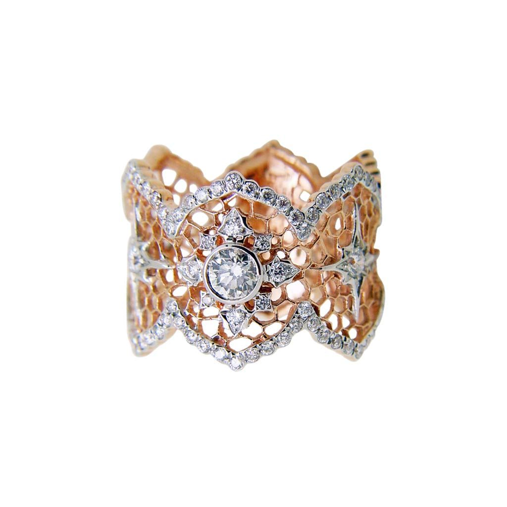 Snowflake 18K Rose Gold Diamond Ring Plukka Shop Fine Jewelry