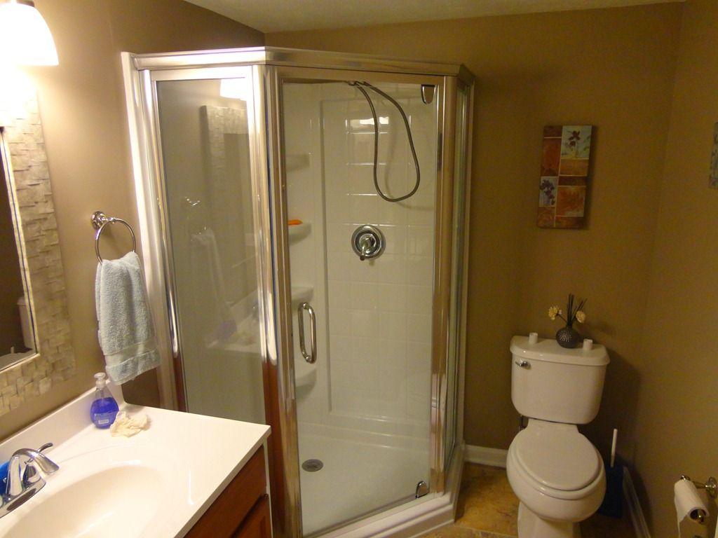 Bath Remodel Brecksville Bathroom Added To Basement Corner - How to build a bathroom in the basement