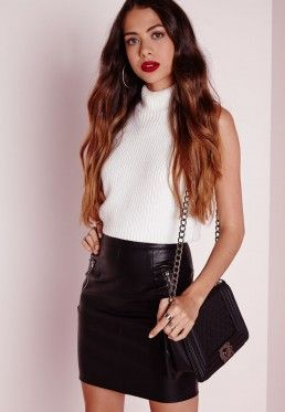 Zip Detail Faux Leather Mini Skirt Black | MissGuided | Pinterest ...