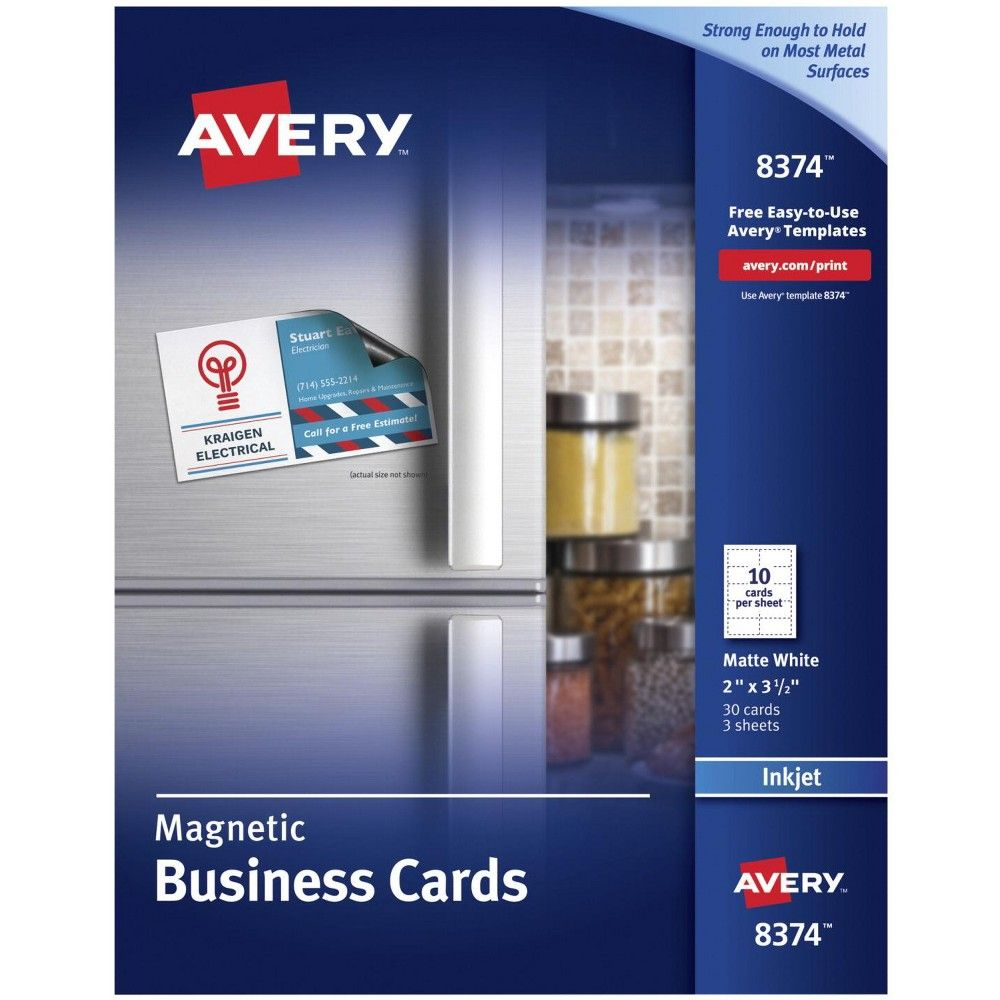 Avery Magnetic Business Cards 2 X 3 1 2 Inches Inkjet Printable Matte White Pk Of Magnetic Business Cards Avery Business Cards Free Business Card Templates