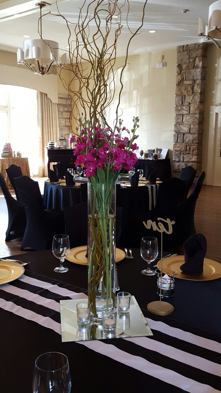 centerpiece hot pink stock curly willow tall vase black and white rh pinterest com