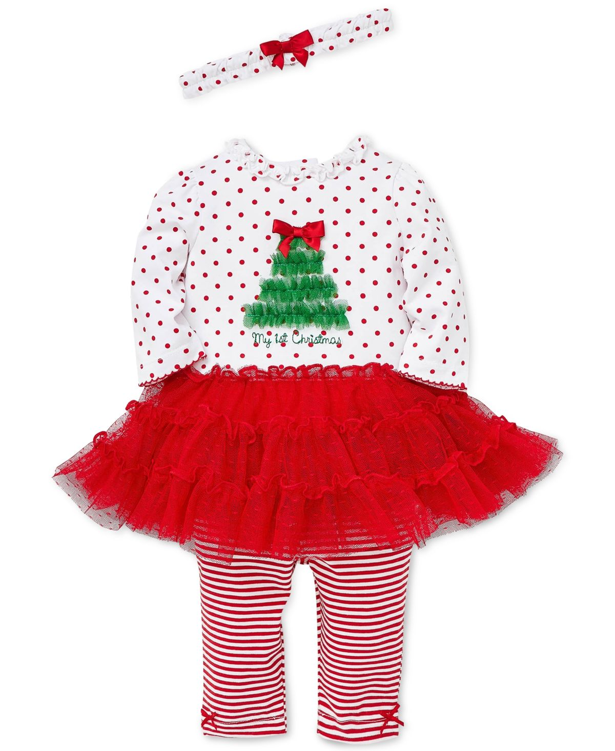 Baby Girls 3-Pc. Headband, Holiday Dress & Striped Leggings Set #stripedleggings